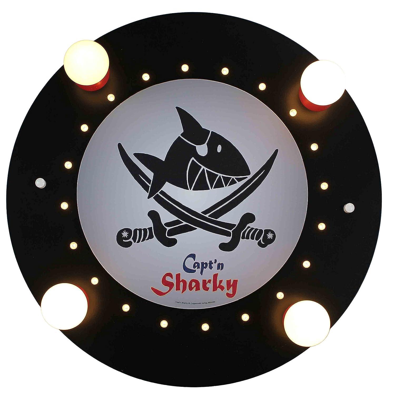 Elobra Kinderzimmerlampe Capt'n Sharky mit Säbeln, Deckenleuchte, Holz, schwarz, 130056