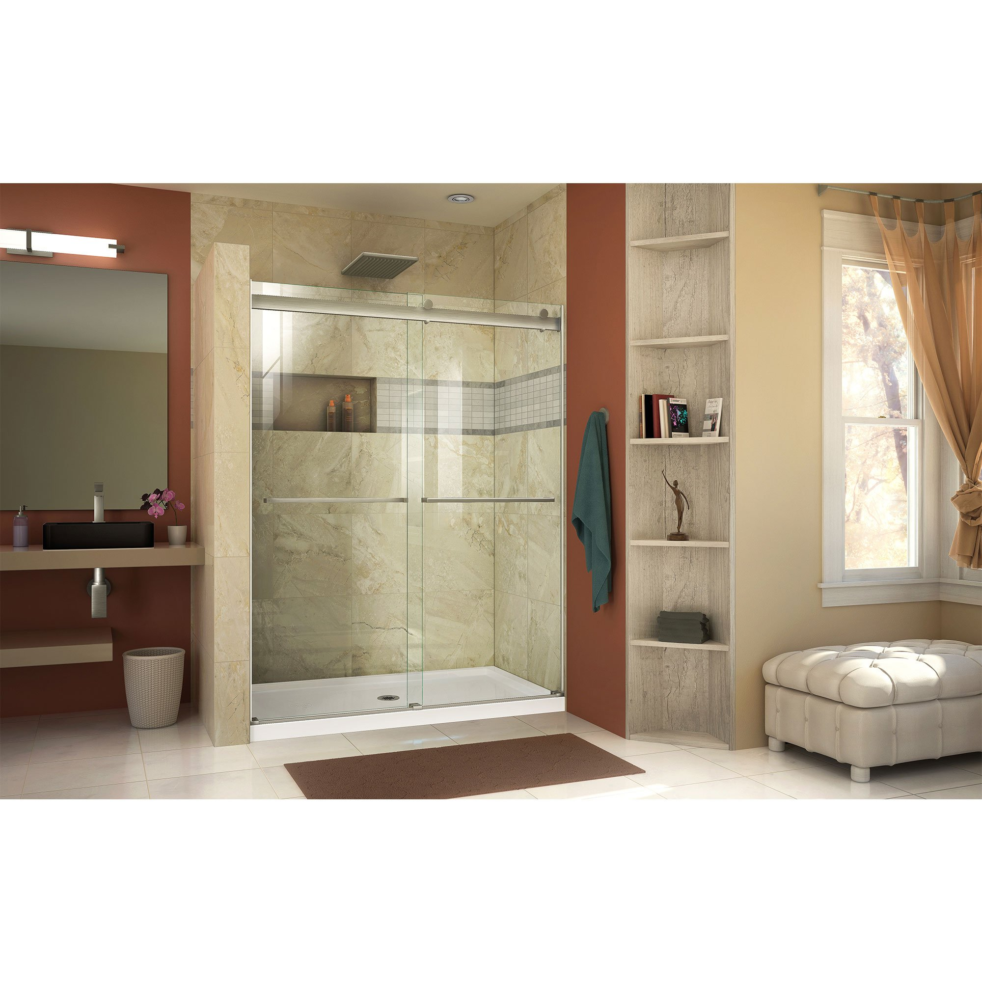 DreamLine SHDR-6360760-04  Essence 56 to 60 in. Frameless Bypass Shower Door in Brushed Nickel Finish by DreamLine (Image #3)