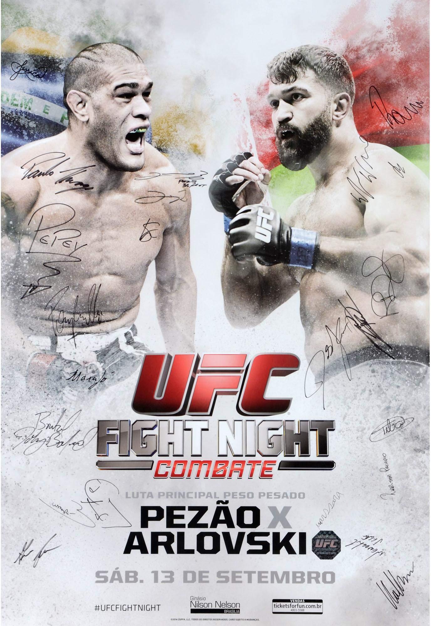 "UFC Fight Night 51 Bigfoot vs. Arlovski Autographed 27"" x 39"" 22 Signature Event Poster Fanatics Authentic Certified"