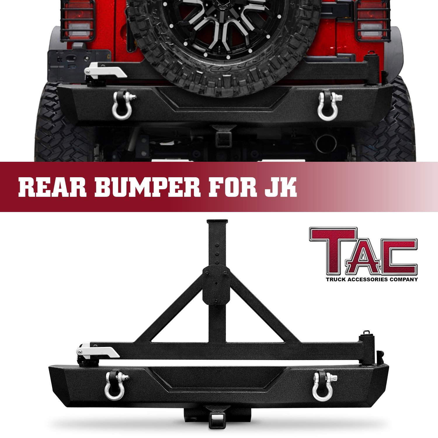 TAC Side Step Armor Textured Black Off-Road For 2007-2017 Jeep Wrangler JK 2-Door Running Boards Nerf Bars Step Rails Side Bars Off Road Exterior Accessories (2 Pieces Running Boards)