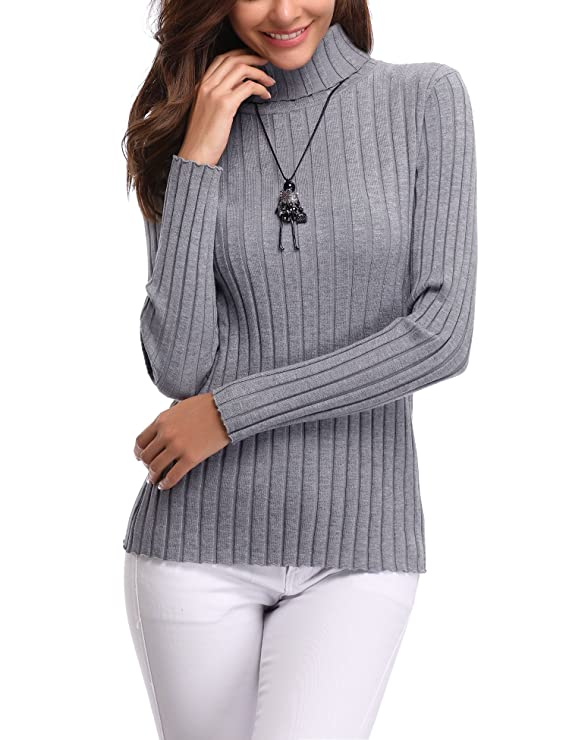 Abollria Women's Long Sleeve Solid Lightweight Soft Knit Mock Turtleneck Sweater Tops Pullover Grey best women's turtlenecks