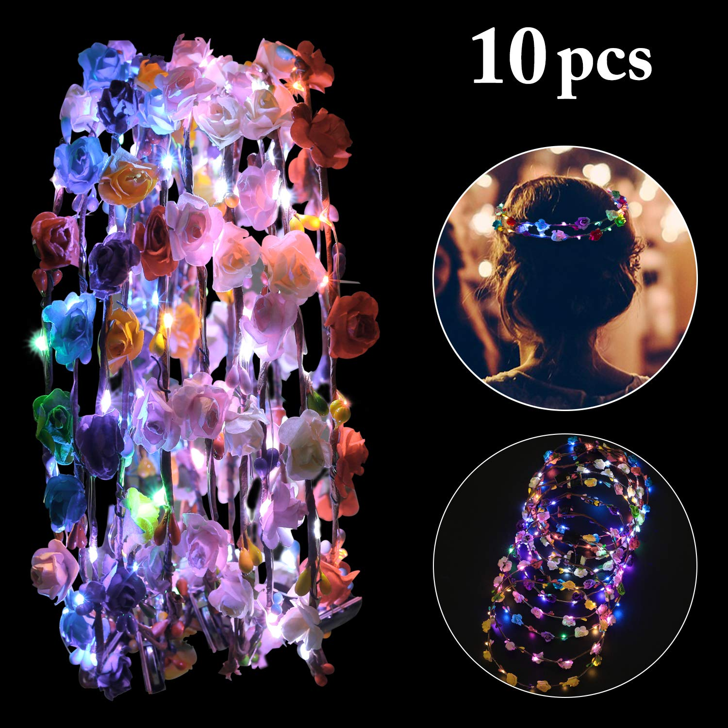 Fansport LED Flower Crowns Light up Flowers Wreath Luminous Flower Headband Crown Floral Headpiece Photograph Prop For Girls Women Wedding Festival Christmas New Year Party (10PCS)