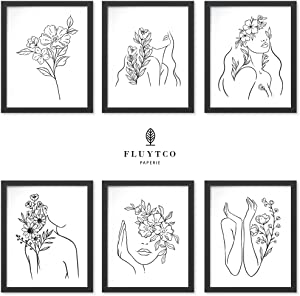 Black & White Minimalist Line Art Prints - Set of 6 Abstract & Figurative Pictures - Minimalist & Modern Wall Decor for Home or Office - Woman's Body Shape Collage
