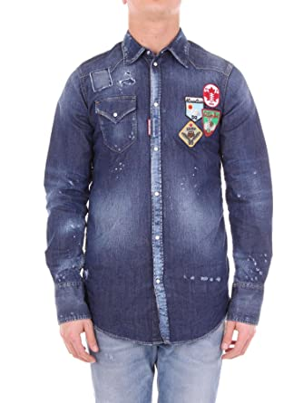 f370c8f10b6 DSquared2 Shirt - S74DM0030 Mens Patch Denim Shirt in Blue  Amazon.co.uk   Clothing