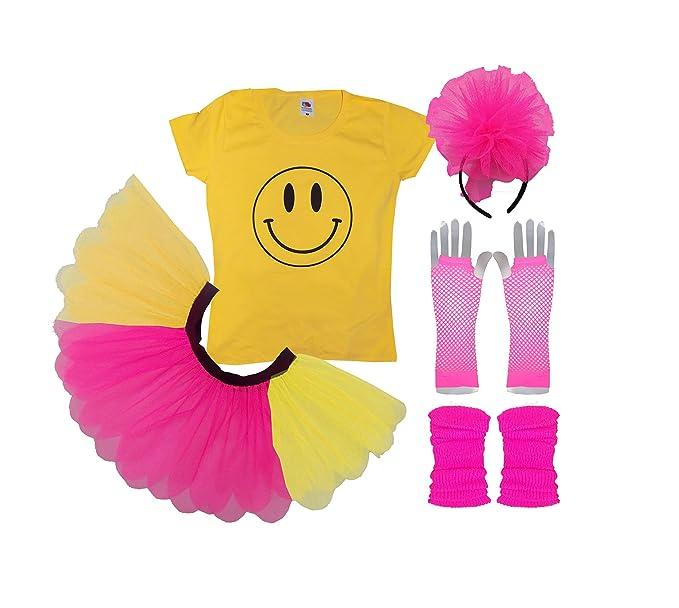 Ladies Acid House Smile Happy Face Fancy Dress Neon Rave Costume. XS to 3XL