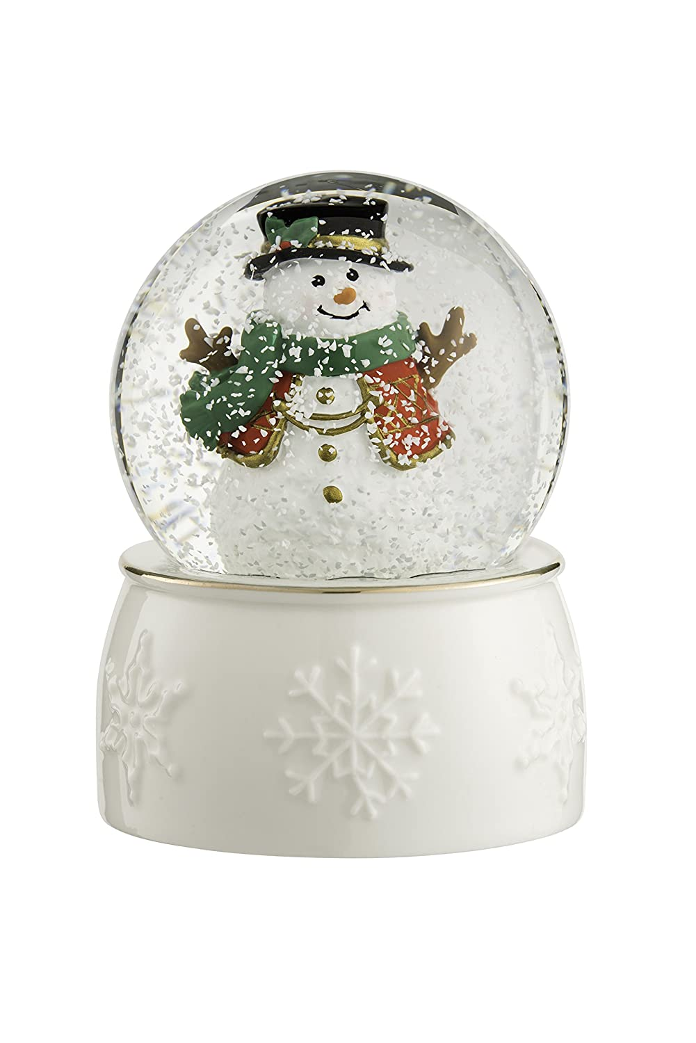 Belleek Living Snowman Snow Globe, Glass, Gold/White Belleek Pottery 8443