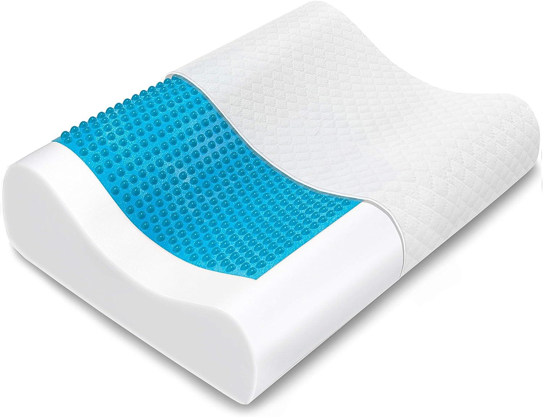 Bamibi® Almohada Cervical Ortopédica Terapéutica Viscoelástica con Gel Disipador de Calor, Cojín Ortopédico con Espuma de Memoria Alta Densidad. Incluye Funda Al