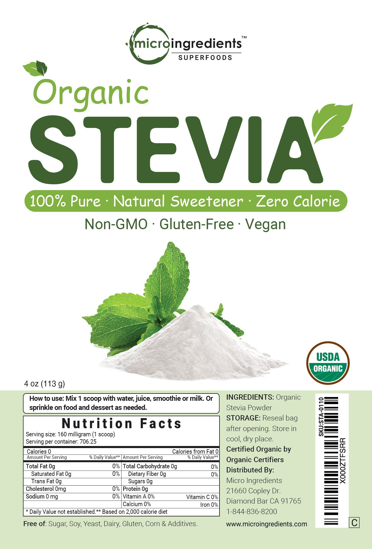 Pure Organic Stevia Powder - 8 Ounce / 1418 Serving, Zero Calorie, Natural Sweetener and Sugar Alternative, Best Organic Flavor for Smoothie, Beverage and Drinks, Non-GMO and Vegan Friendly by Micro Ingredients (Image #7)