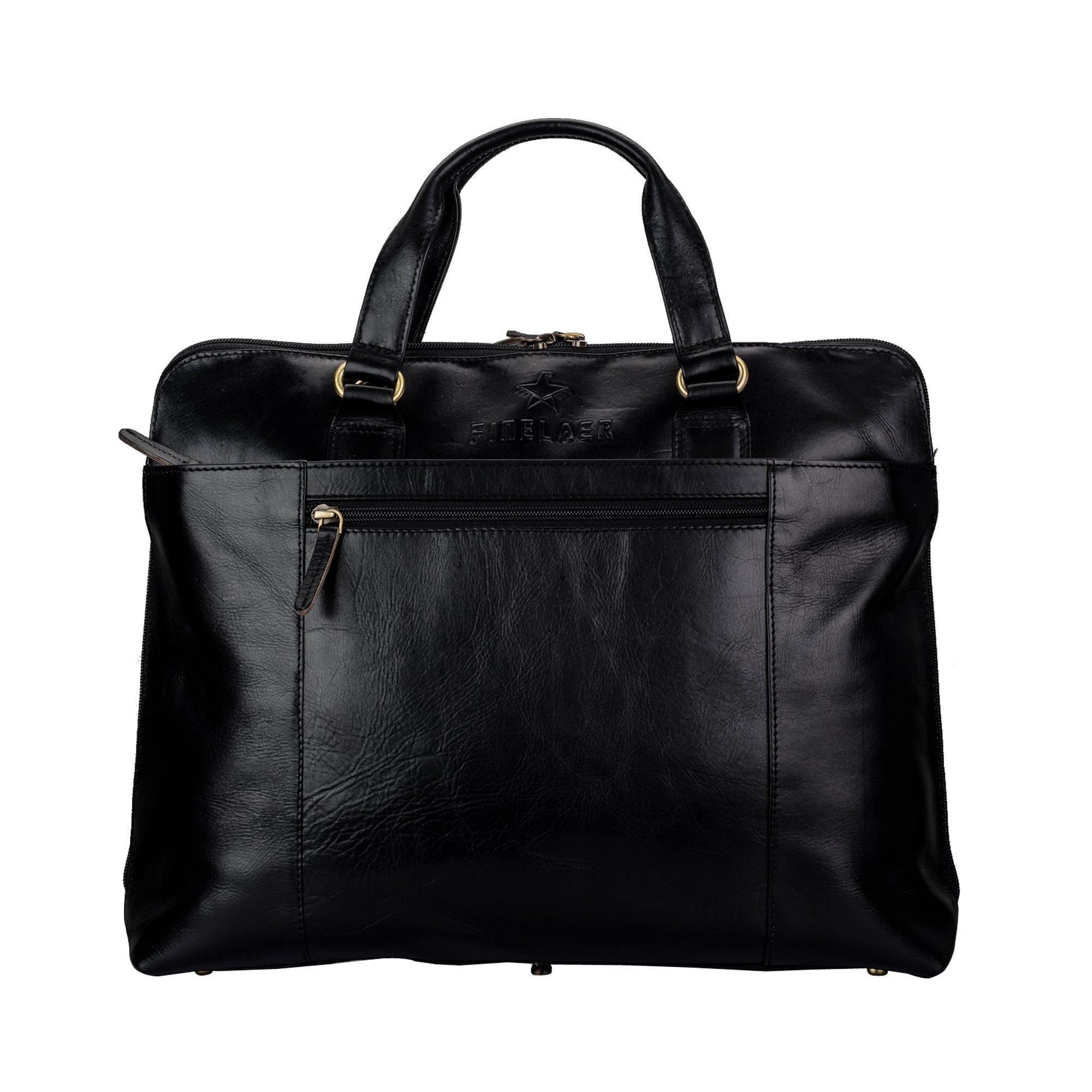 FINELAER Men And Women 14'' Leather Laptop Computer Messenger Shoulder Strap Office Bag Black