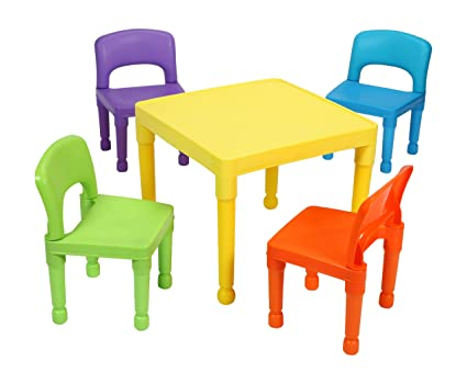 Liberty House Toys Childrenu0027s Table And 4 Chairs Set, Plastic, Multi Colour  By