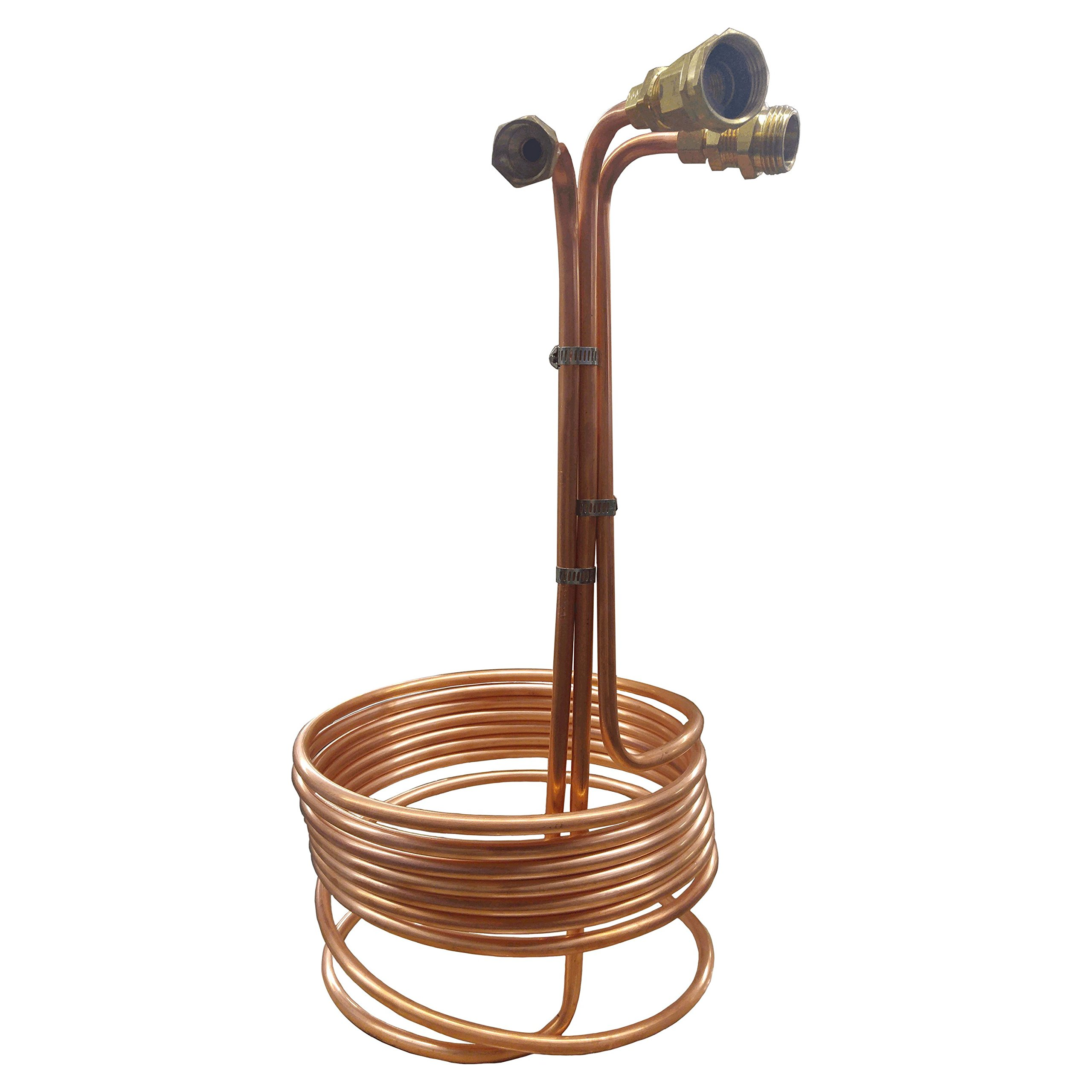 HomeBrewStuff Super Efficient 3/8'' x 25' Copper Wort Chiller with Recirculating Arm and Compression Fittings