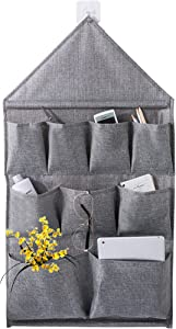 Over The Door Storage Pockets,Hanging Storage Bags Organizer Linen Cotton Fabric Wall Door Closet 9 Pockets Home Organizer for Bedroom & Bathroom by AARainbow (Gray, 9 pocket)