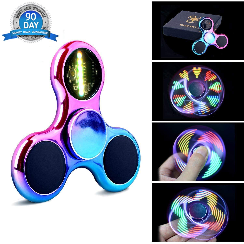 Fidget Spinner Hand Spinner Quimat a Mano Luce LED UP Giocattoli da Dita EDC 18 Modalità Luminose e Batterie Sostituibili per Bambini Adulti (Colorato/Arcobaleno)