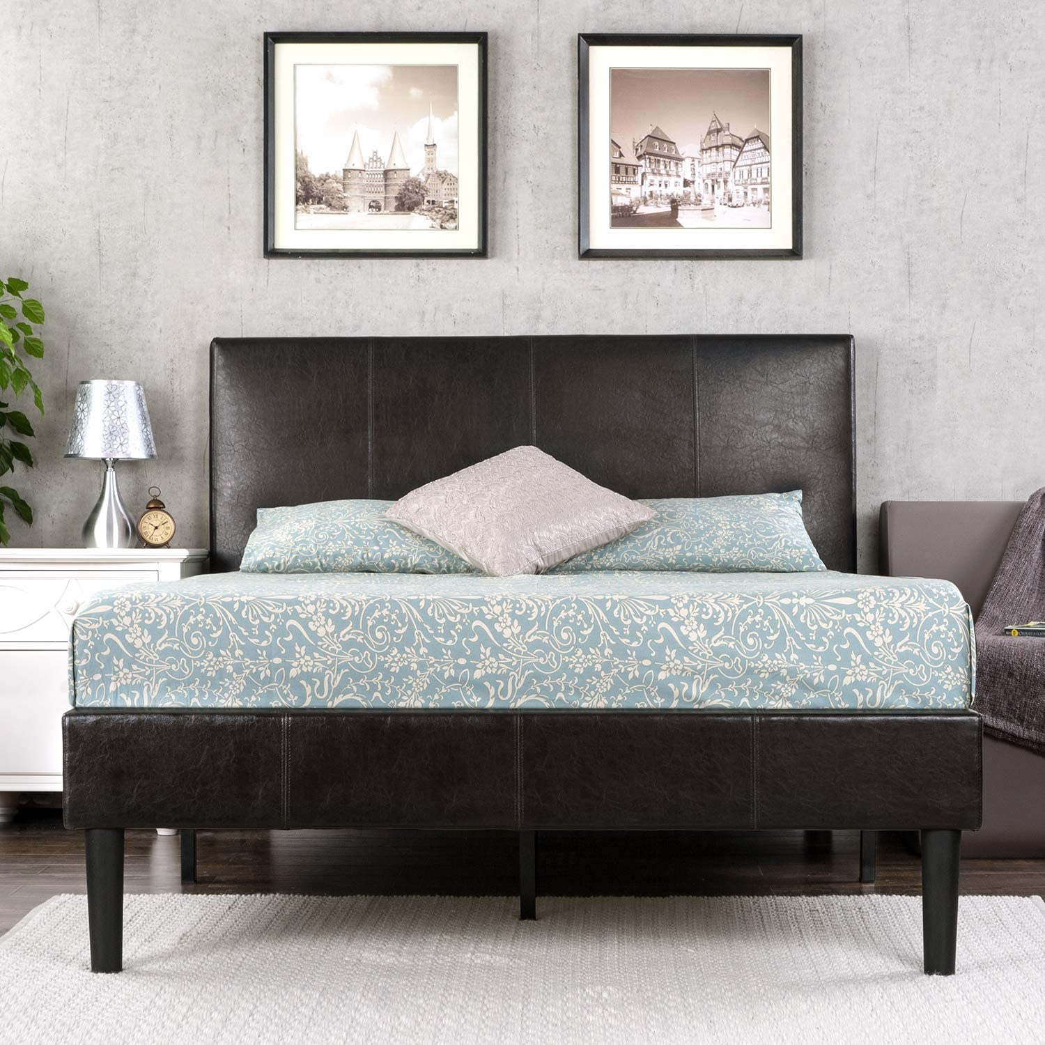 Zinus Deluxe Faux Leather Upholstered Platform Bed with Wooden Slats Queen
