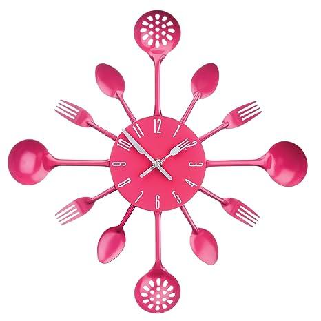 Premier Housewares - Reloj de pared, diseño de cubiertos, color rosa
