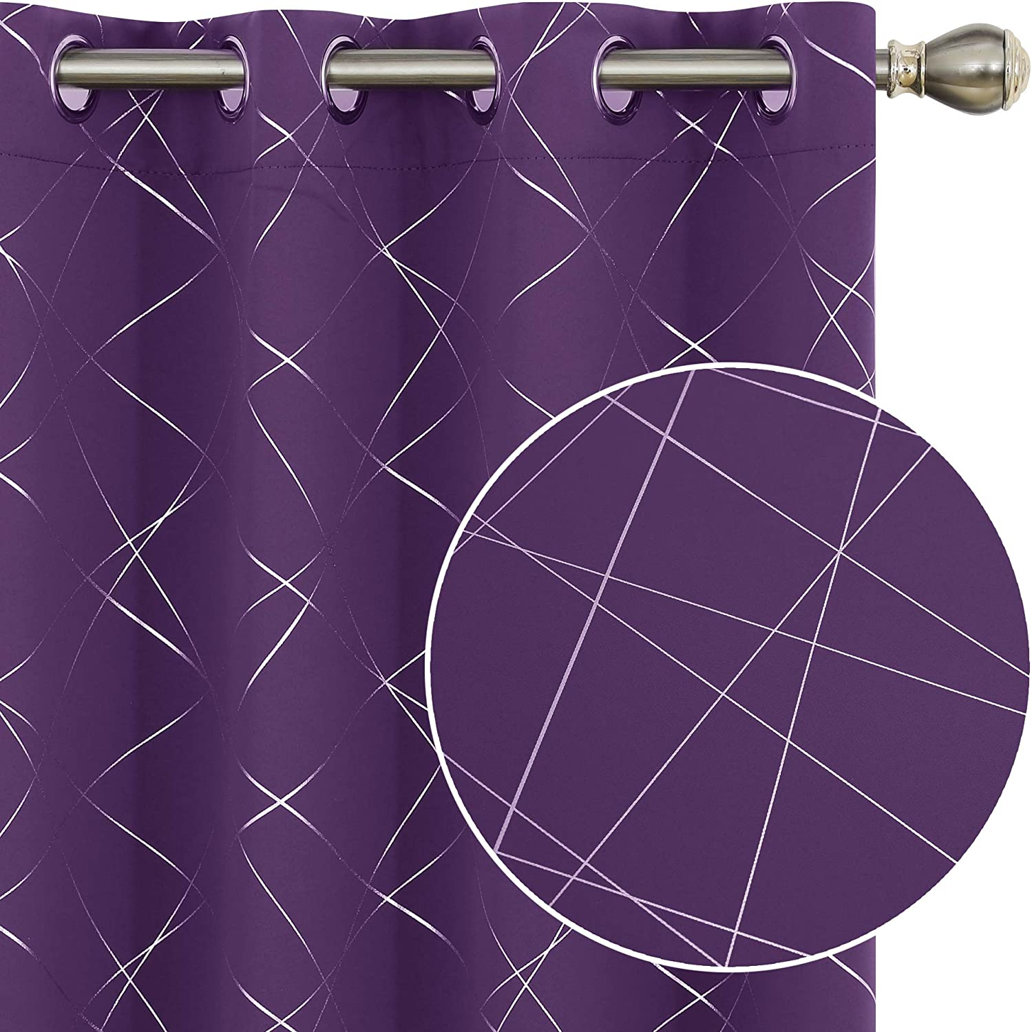 Deconovo Blackout Curtains for Bedroom Living Room 2 Panels Thermal Insulated Window Drapes Room Darkening Curtains for Kitchen - 2 Panels, Each 52x90 Inch Purple Grape
