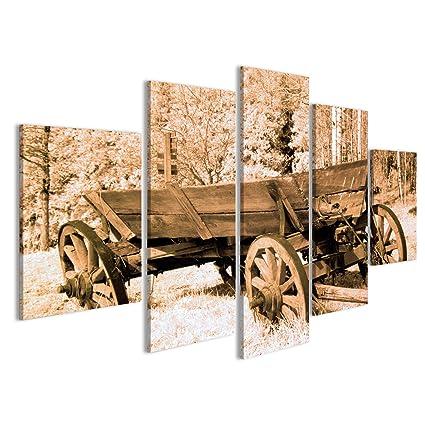 islandburner Cuadro Cuadros Carro Antiguo en el Coche Viejo Oeste Impresión sobre Lienzo - Formato Grande