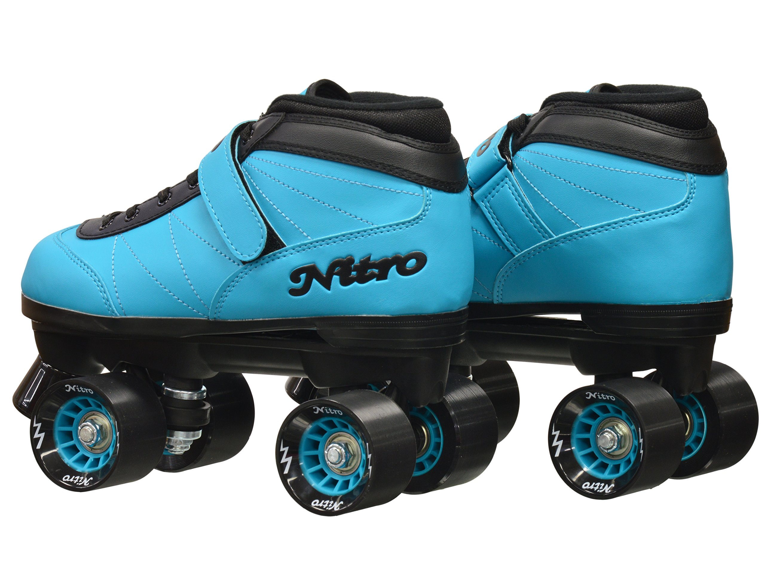 New! Epic Nitro Turbo Blue Indoor / Outdoor Quad Roller Speed Skates w/ 2 Pair of Laces (Blue & Black) (Mens 9) by Epic Skates (Image #5)