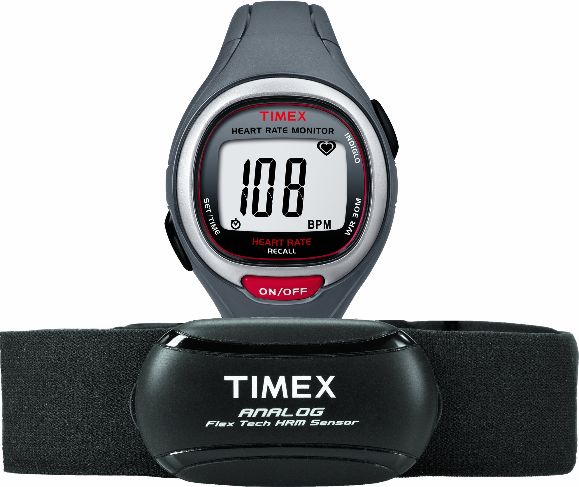 Timex Unisex T5K729 Easy Trainer Analog HRM Flex Tech Chest Strap & Mid-Size Gray/Red Watch