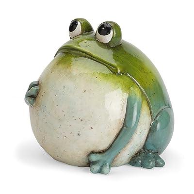 Wind & Weather Big Belly Ceramic Frog : Garden & Outdoor