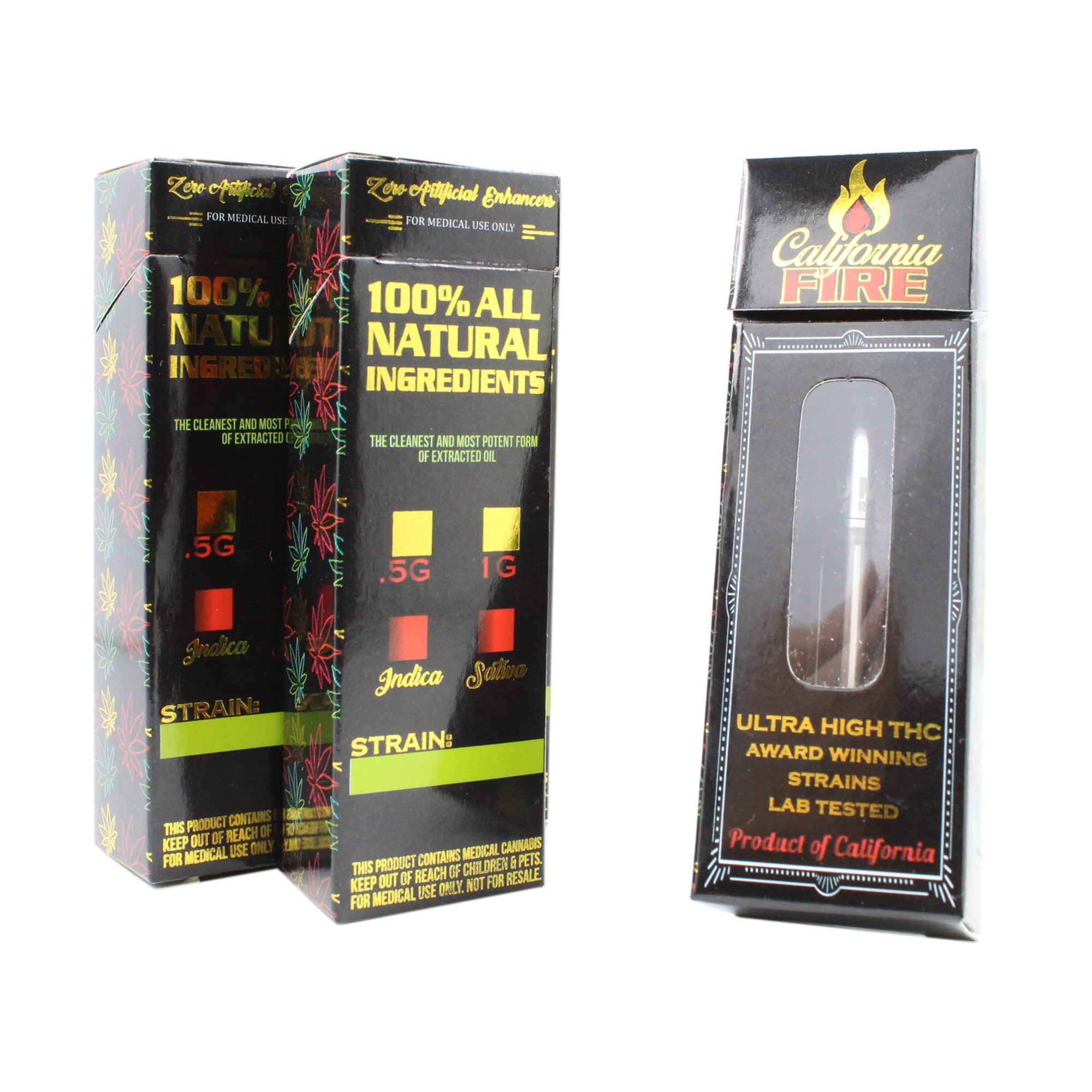 Shatter Labels California Fire Empty Distillate Concentrate Flip Top Packaging Boxes by VB-047 (50)