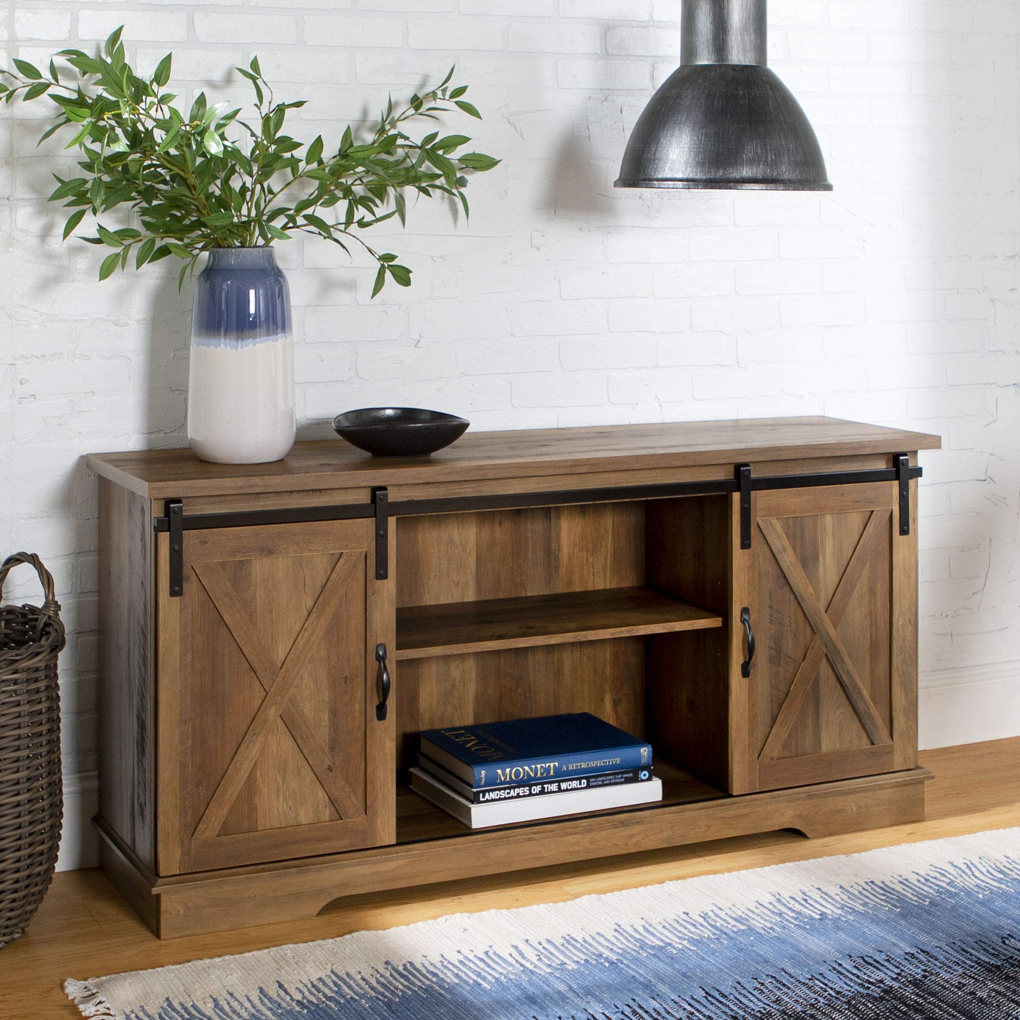 Home Accent Furnishings New 58 Inch Sliding Barn Door Television Stand - Rustic Oak Finish by Home Accent Furnishings
