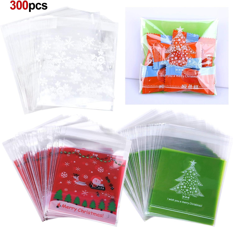 100 Stück Plätzchen Kekstüten Weihnachten Geschenk Verpackung Selbstklebend
