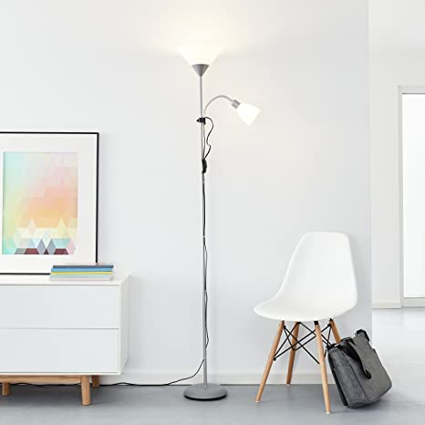 Clásico LED – Lámpara de pie con brazo de lectura, 1 x 10 W E27