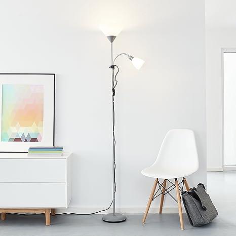 Clásico LED – Lámpara de pie con brazo de lectura, 1 x 10 W E27 LED/1 x 3 W E14 LED Incluye, 810 lúmenes, 2700 K, metal/plástico, plata/blanco