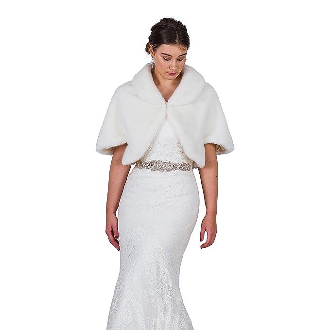 The Bridal Outlet Chaqueta de Piel sintética para Novia, Bolero, Color Marfil, para