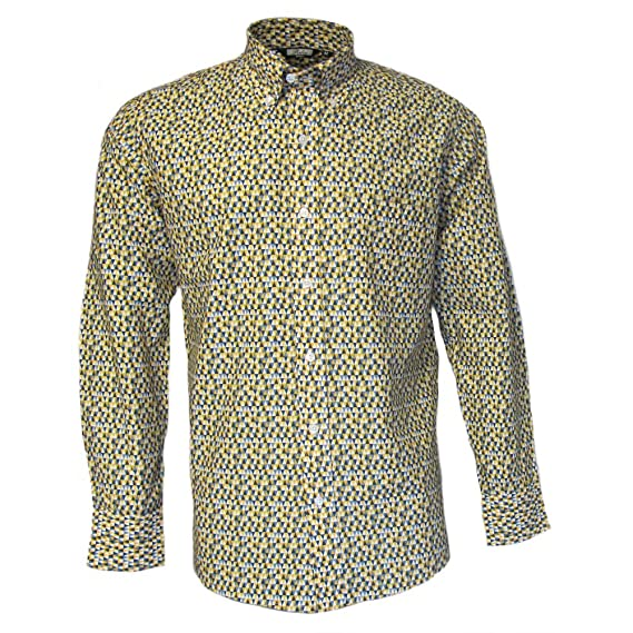 ebc043e765f Relco Mens Yellow Abstract Geometric Long Sleeved Button Down Vintage Shirt  Mod 60s 70s  Amazon.co.uk  Clothing