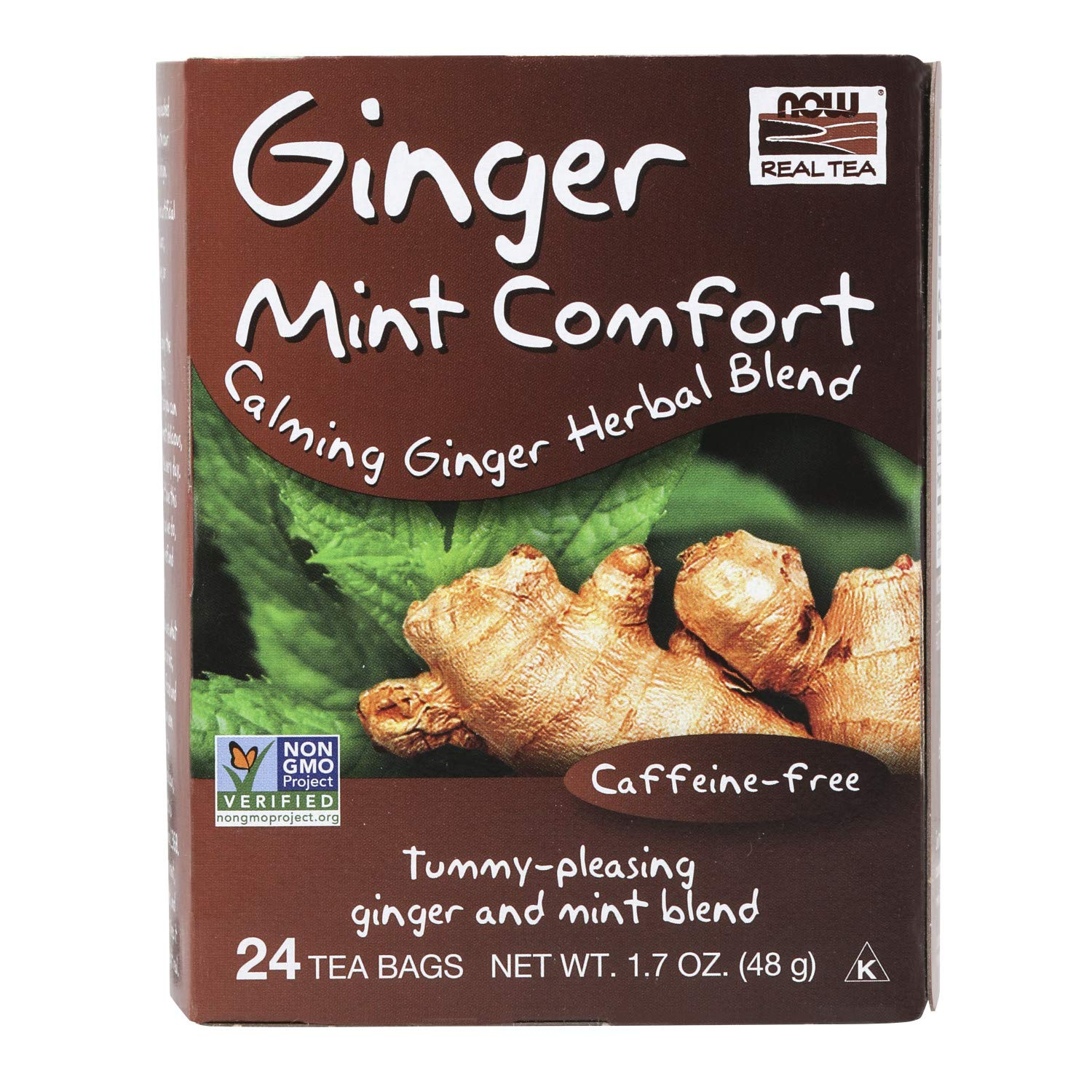 NOW Foods, Ginger Mint Comfort Tea, Calming and Tummy-Pleasing Ginger-Mint Herbal Blend, Caffeine-Free, Non-GMO, Premium Unbleached Tea Bags with No-Staples Design, 24-Count