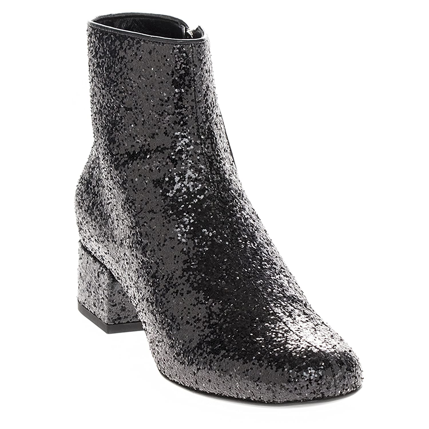 00a9a93457f Amazon.com | Saint Laurent Women's Glitter-Finished Almond-Toe Ankle Boots  with Short Block Heel | Boots