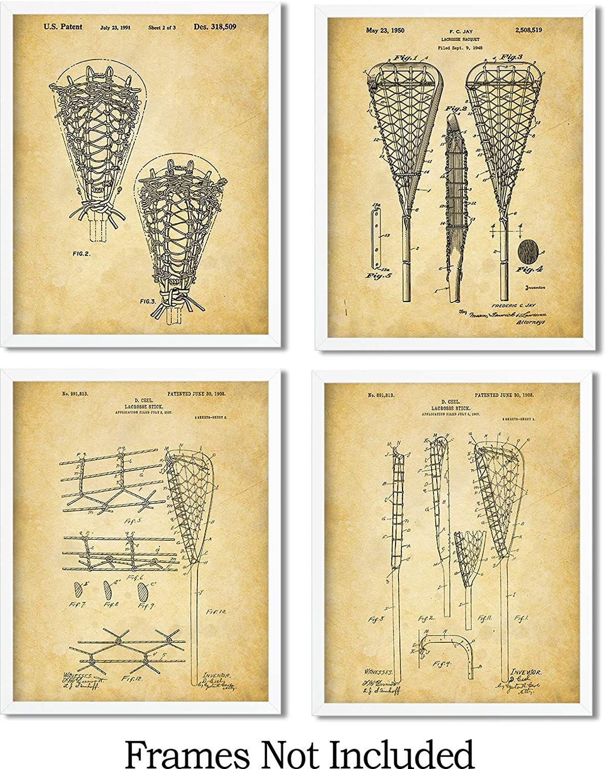 wall art decor for lax fans set of Four Lacrosse Patent Wall Art Prints 8x10 Unframed
