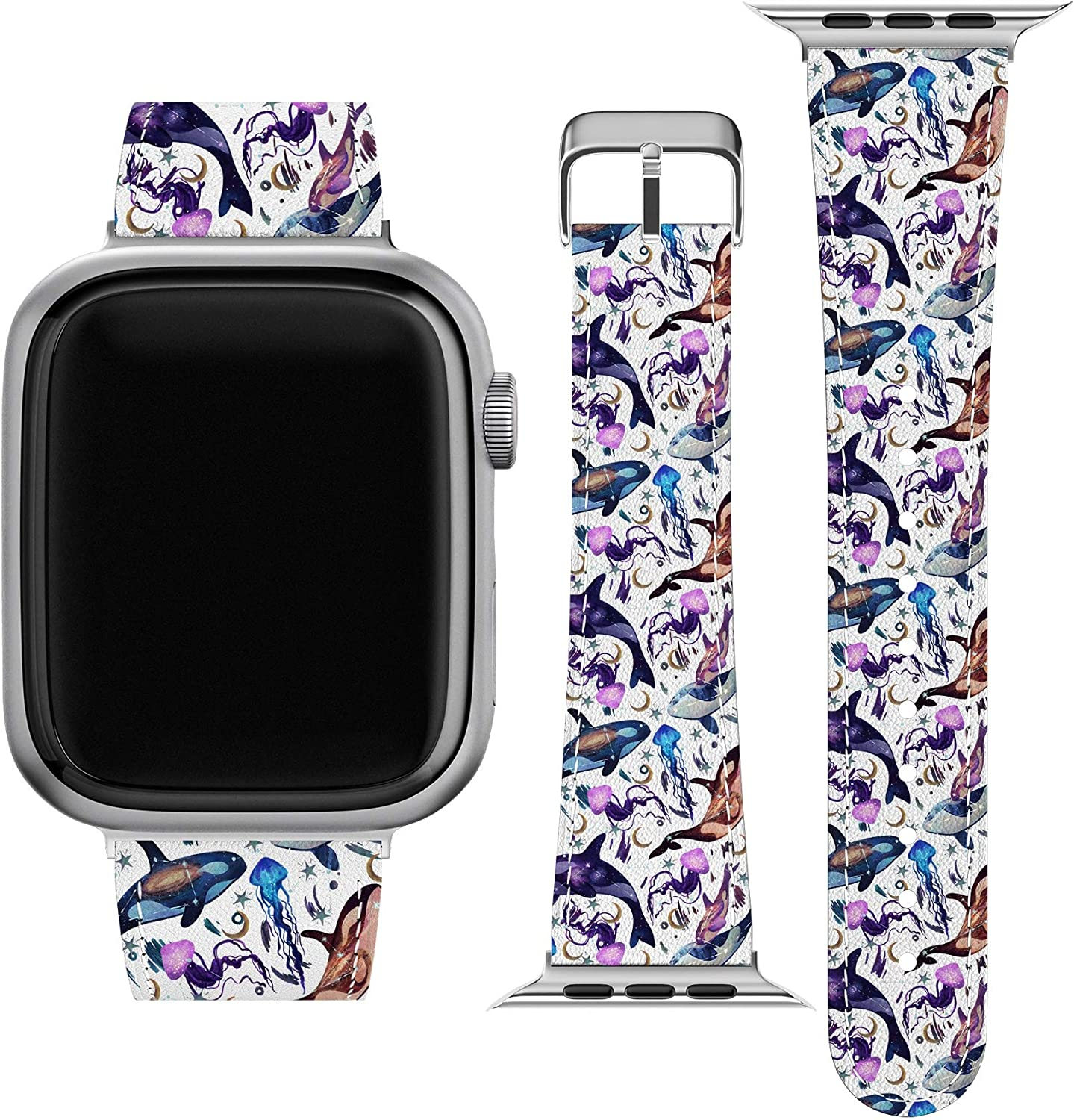 Lex Altern Band Compatible with Apple Watch Series 6 SE 5 4 3 2 1 38mm 40mm 42mm 44mm Galaxy Thin Cute Fish Stars Orca Whale Ocean Replacement Strap for iWatch Space Wristband Vegan Leather wh245