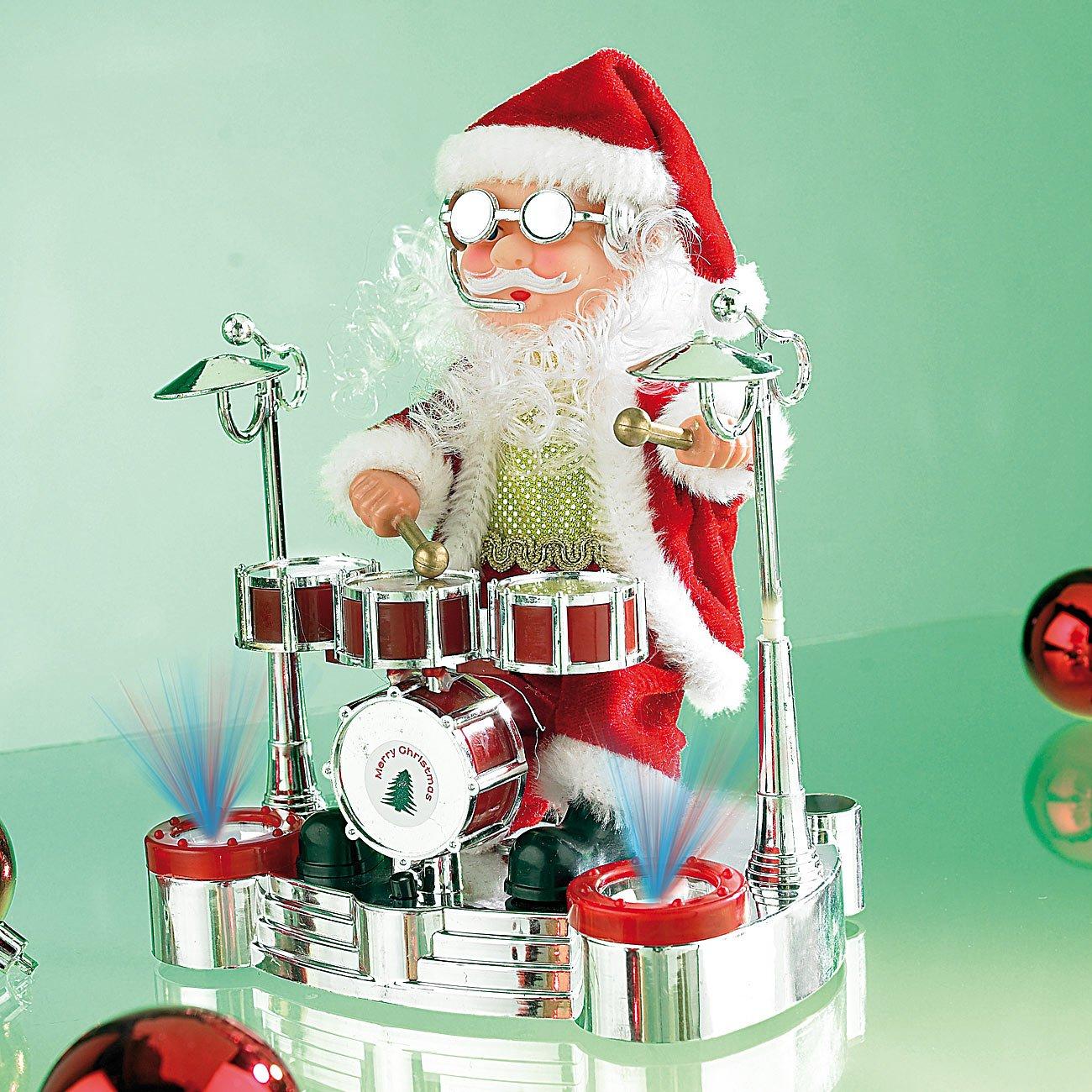 Trommelnder Weihnachtsmann Singender Schlagzeuger-Weihnachtsmann mit LED-Lichtershow infactory Weihnachtsdeko