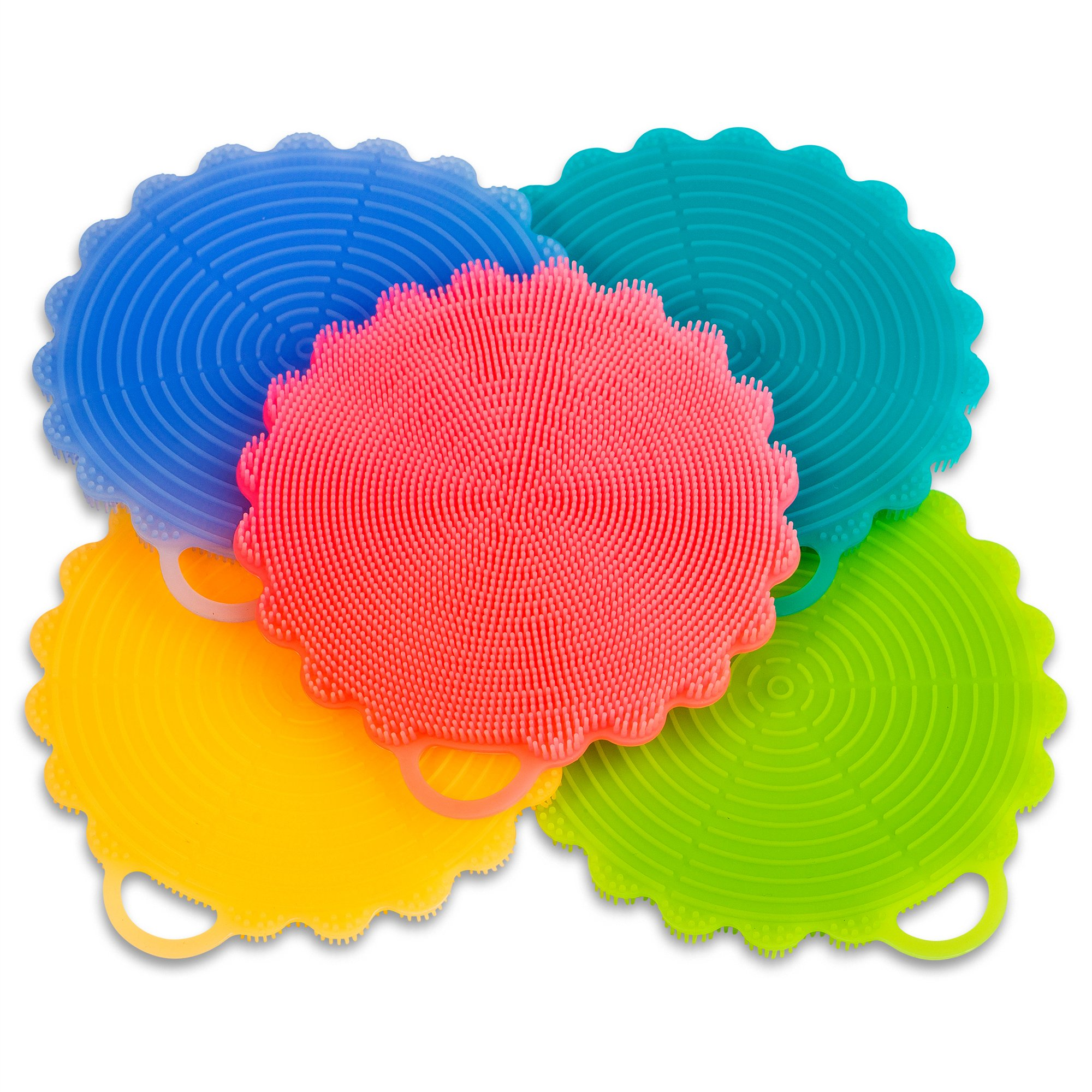 Silicone Dish Brush 5 pieces - Durable, Non Stick and Antibacterial Cleaning Kitchen Brush, Perfect for your Dish, Pot, Pan, Bowl, Fruit and Vegetable, Sanitary and Non-Abrasive Insulation Pad by JAGURDS