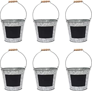 Hosley 7.5 Inch Diameter Set of 6 Metal Pail With Chalkboard. Ideal Gift for Wedding House Warming Floral Planter DIY Craft Home Office Party Garden Patio P1
