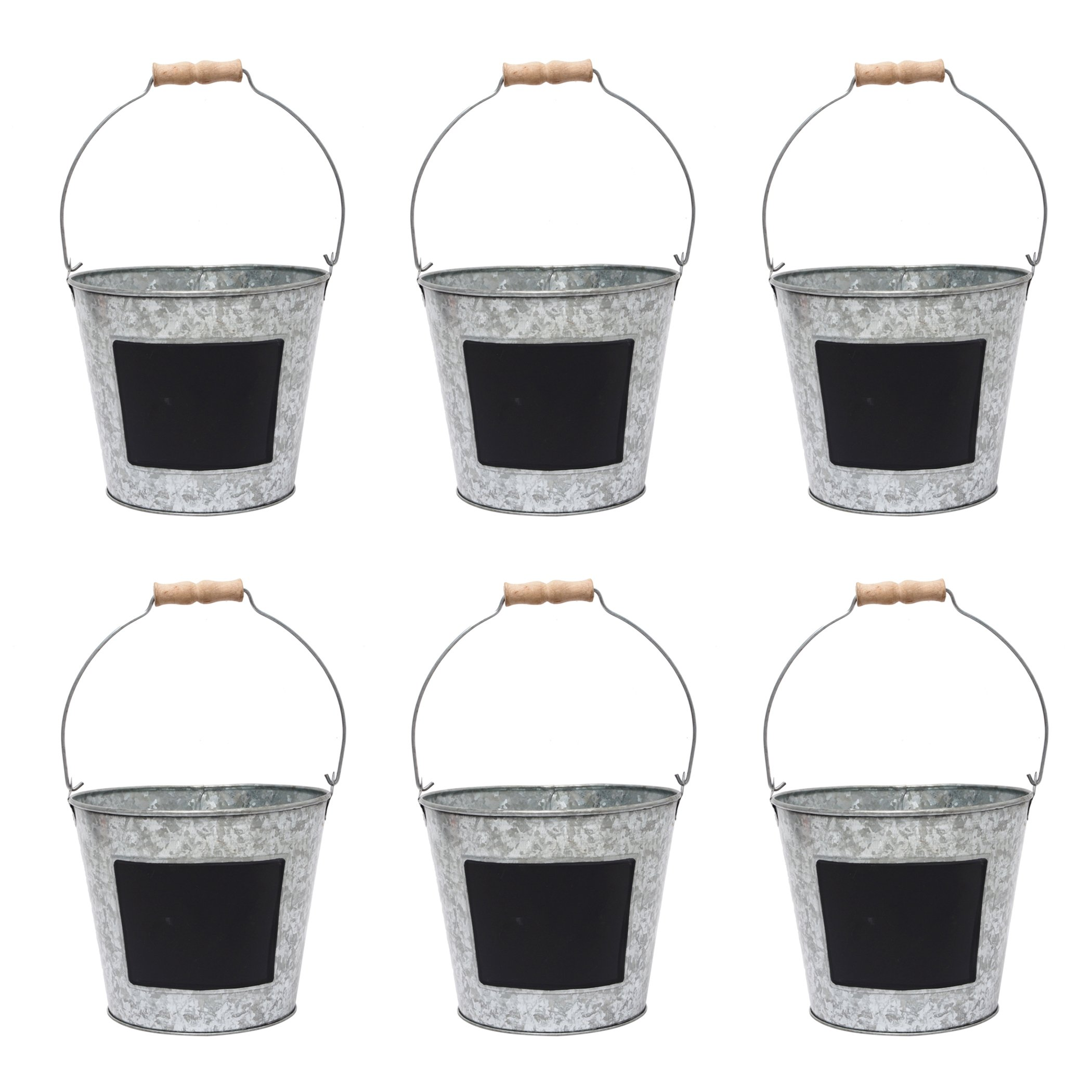 Hosley 7.5'' Diameter, Set of 6 Metal Pail With Chalkboard. Ideal Gift for Wedding, House Warming, Floral Planter, DIY, Craft, Home Office, Party, Garden, Patio P1