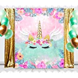 6.5x10ft Unicorn Themed Photo Backdrop Gold Sequins Stars Kids Children Unicron Background for Photography Party Head Birthday Banner Girls Photo Booth Props