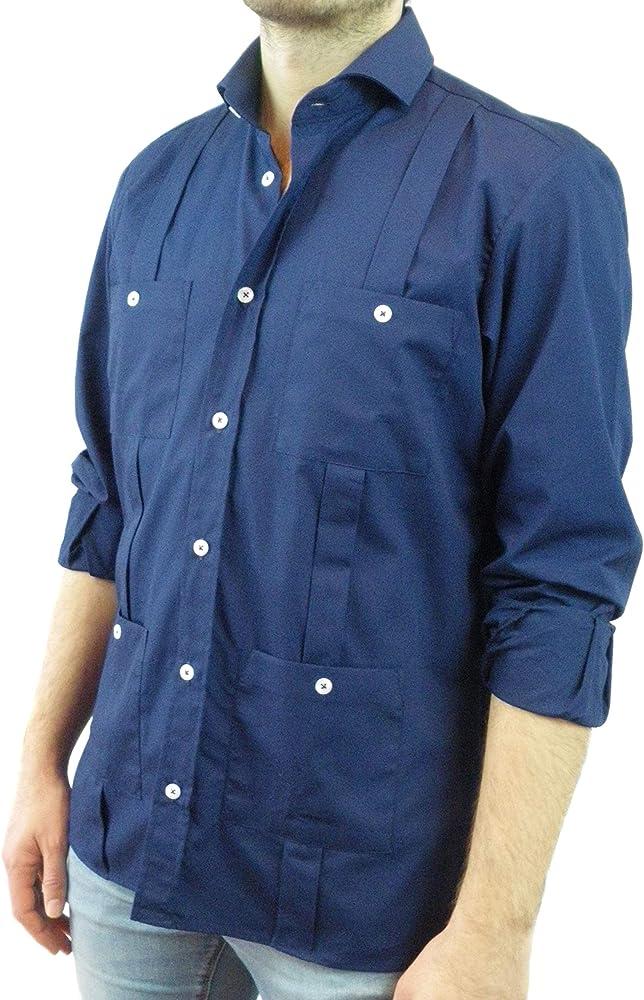 Camisa Guayabera Caballero Azul Marino (L): Amazon.es: Ropa y accesorios