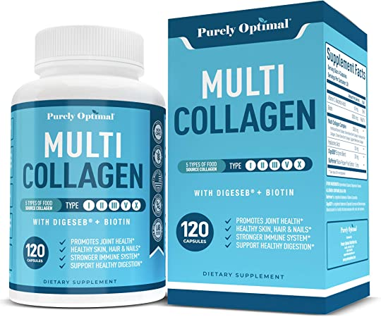 Premium Multi Collagen Peptides (Types I, II, II, V, X) - Collagen Pills for Skin Care, Hair Growth, Nails, Joints & Anti-Aging - Vitamin C, Hyaluronic Acid, Biotin, Gluten Free, 120 Collagen Capsules