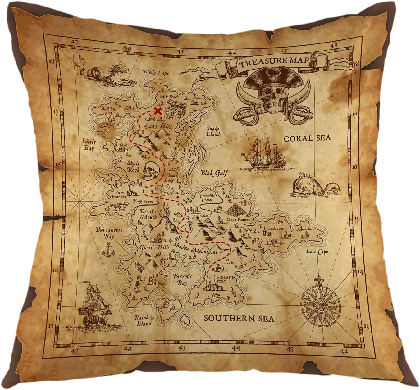 oFloral Pirate Throw Pillow Case Super Detailed Square Cushion Cover Treasure Map Home Decor for Sofa Couch Bedroom Living Room Dorm Decoration 18 X 18 Inch Brown Pillowcase