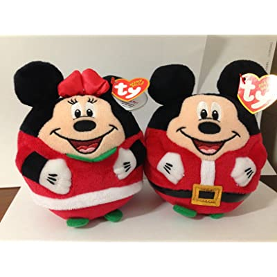 "Ty Christmas Mickey Mouse and Minnie Mouse Plush Toys (Set of 2 Ty Holiday Beanies 5.5""): Toys & Games [5Bkhe1107379]"
