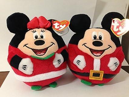 Christmas Minnie Mouse Plush.Amazon Com Ty Christmas Mickey Mouse And Minnie Mouse Plush
