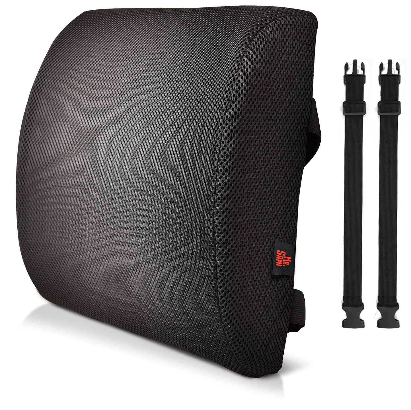 Lumbar support cushions for lower back support - Premium memory foam pillow back support for office chair, wheelchair, car seat, on a plane and home use. New ergonomic design with cool black non-slip breathable mesh material & double adjustable straps