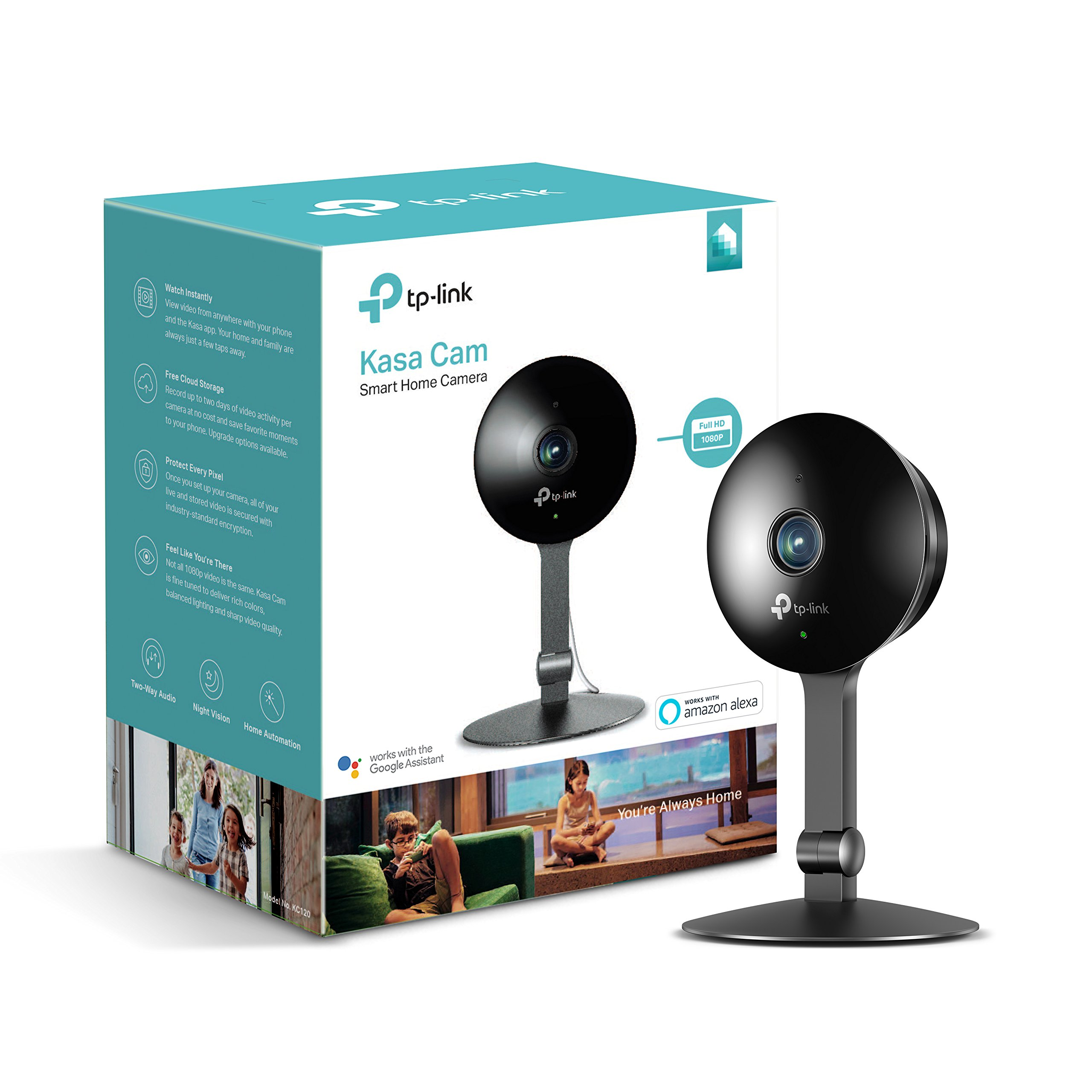 Kasa Cam 1080p Smart Home Security Camera by TP-Link, KC120, Works with Alexa (Echo Show/Fire TV), Google Assistant (Chromecast) by TP-Link