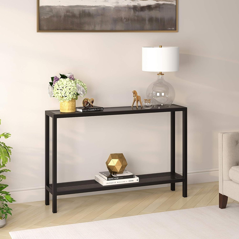 Henn Hart 46 2 Shelf Entryway Glass Metal Console Table Black Furniture Decor