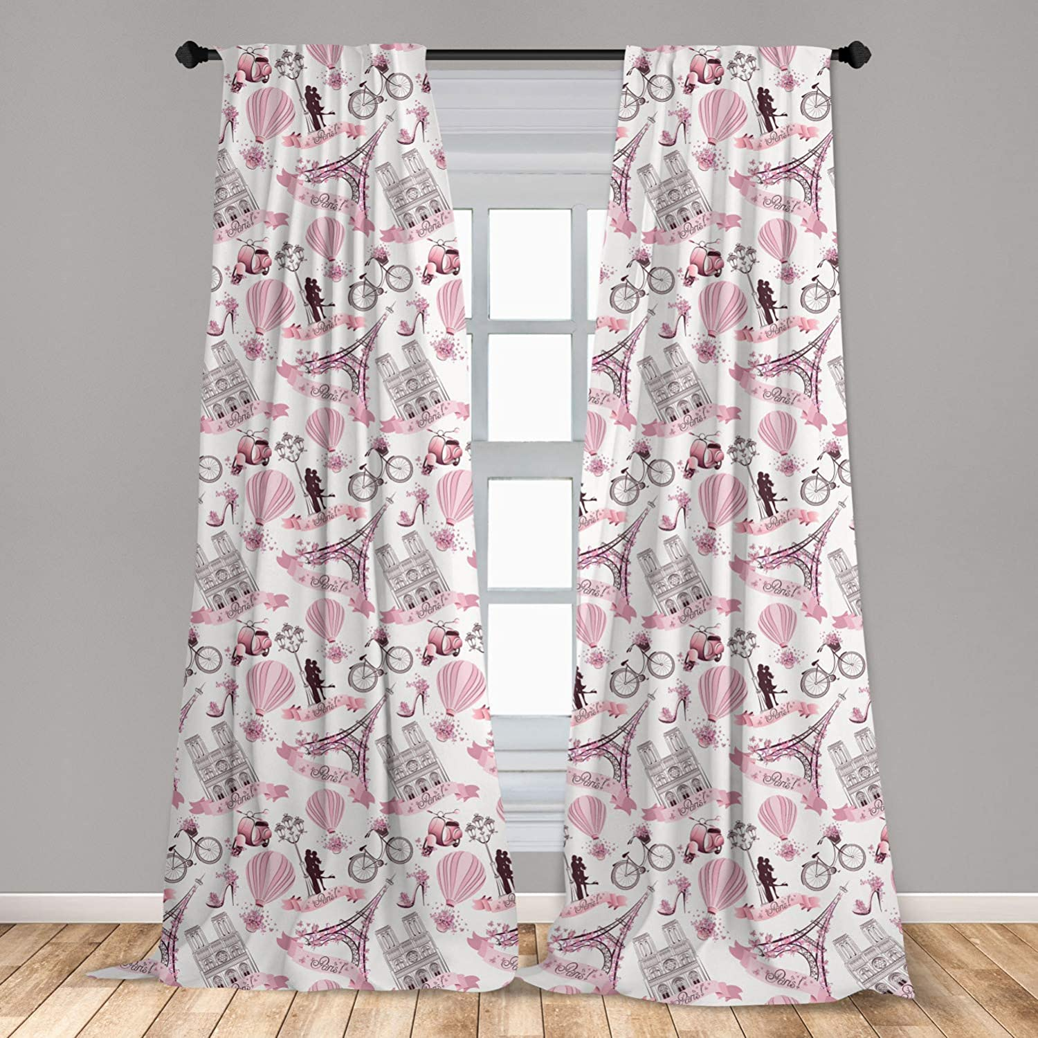 """Ambesonne Paris 2 Panel Curtain Set, Valentines Day Theme with Eiffel Kissing Couple Hot Air Balloon Wedding Concept, Lightweight Window Treatment Living Room Bedroom Decor, 56"""" x 63"""", Pink Rose"""