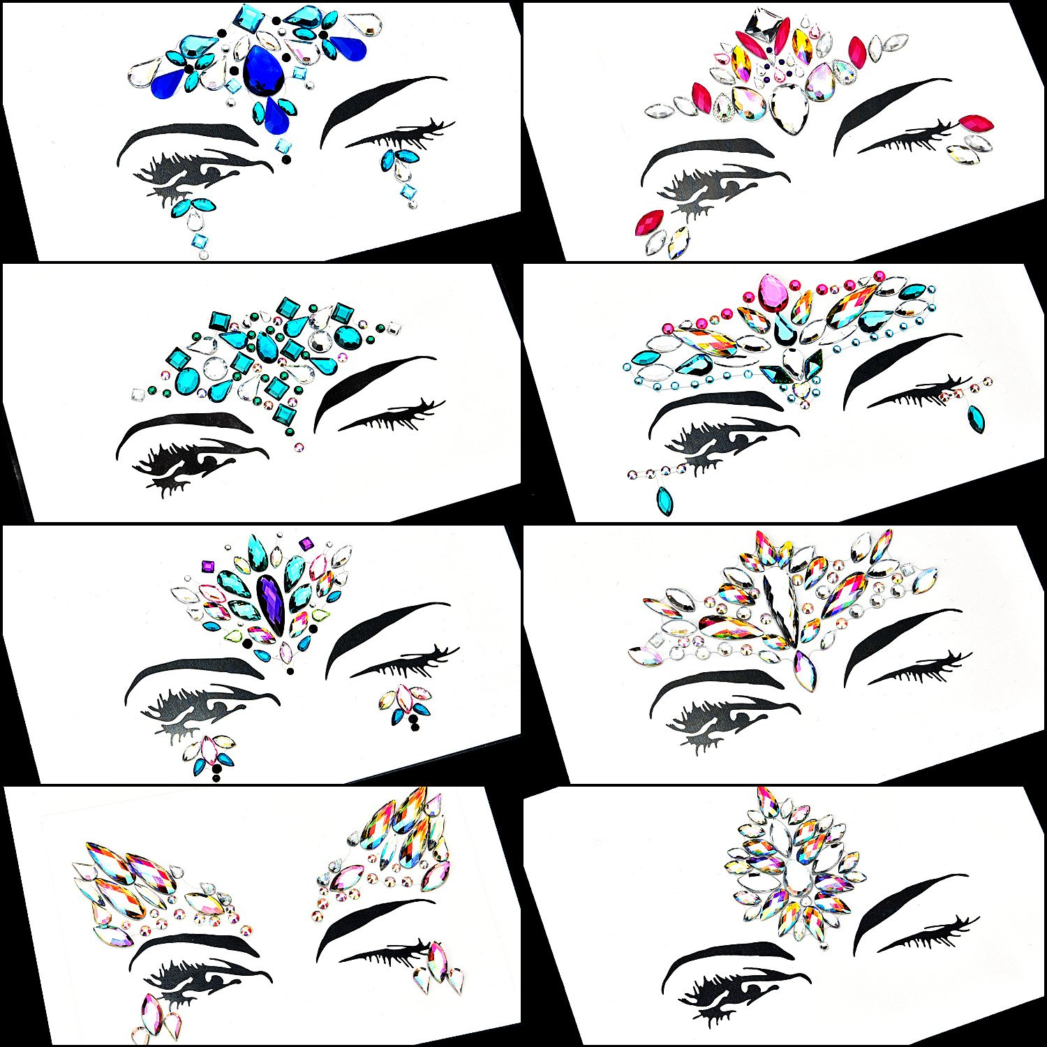TOODOO 8 Sets Face Gems Rhinestone Colorful Sticker Tattoo Jewelry Stick on Face Festival Jewels for Forehead Body Decorations (Style 1) by TOODOO (Image #2)